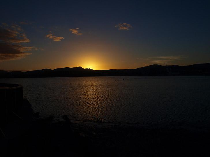 posta de sol, platja, oceà, crepuscle, nit, natura