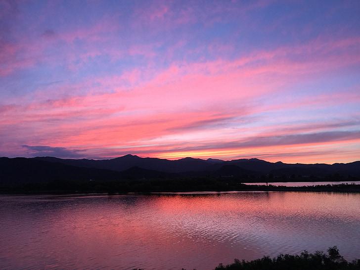glød, solnedgang, Vis, rosa solnedgang, Lake, landskapsarkitekter, natur