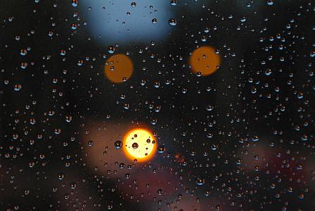 rain, pane, evening, drops, drops of water, rain drops, the background