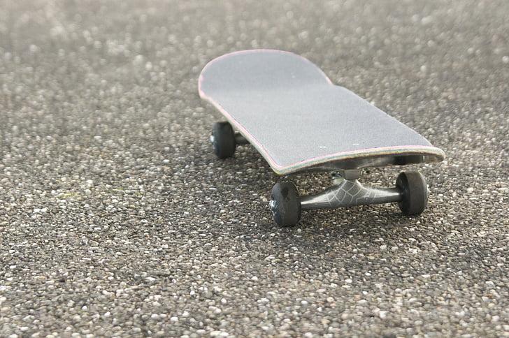 skateboard, all'aperto, strada, asfalto, tempo libero