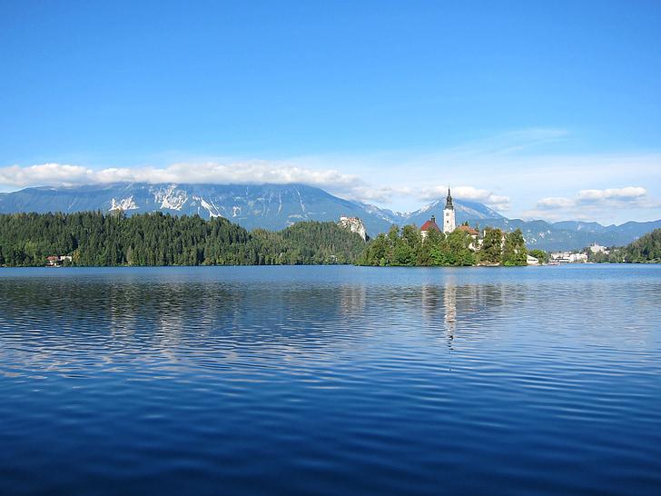 sjön bled, Slovenien, landskap, bergen, sjön