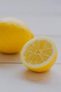 익은, 레몬, 슬라이스, 노란색, 레몬, 감귤 류, 과일