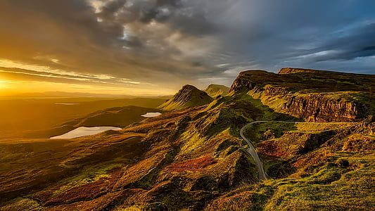 scotland, landscape, scenic, mountains, hills, sunset, sky