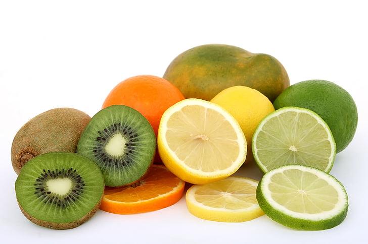 citrusové, detail, jídlo, ovoce, zdravé, Kiwi, citron