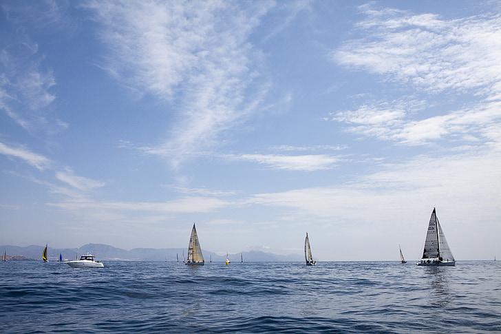 havet, segelbåtar, båtar, Regatta, kryssningar, segling, segelbåt