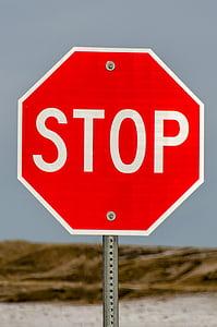 senyal de stop, parada, signe, vermell, trànsit, carretera, Avís