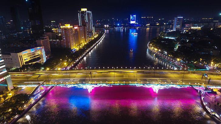canton, the liberation of the bridge, night view, night, traffic, cityscape, street