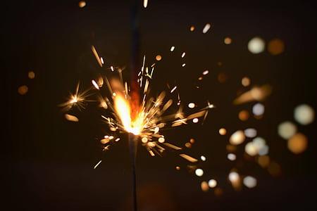 brillant, celebració, fosc, foc, petard, focs artificials, flama