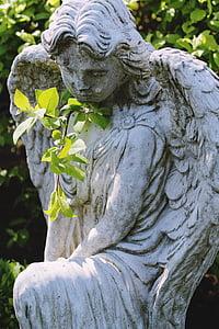 Angel, statue, natur, kirkegård, grav, sorg, død