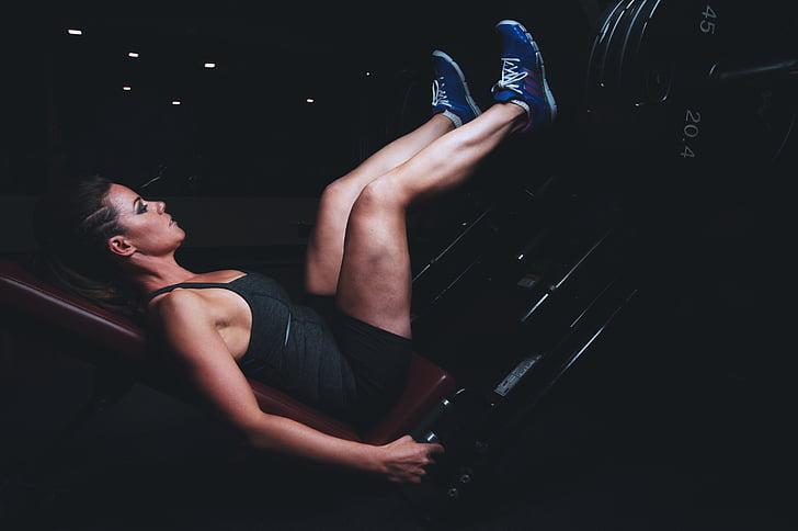 beauté, exercice, remise en forme, salle de gym, legday, jambes, muscles