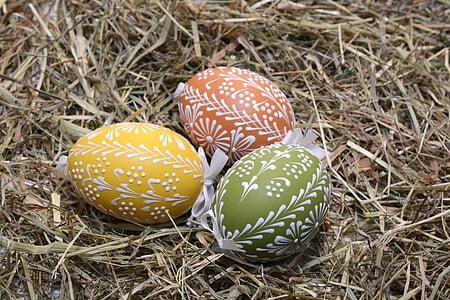 부활절 달걀, 달걀, 그린, 부활절, 행복 한 부활절, 다채로운 계란, 색된 달걀