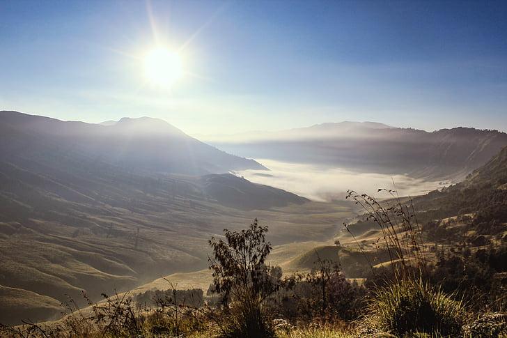 bromo, sun, summer, sunrise, mountain, indonesia, landscape