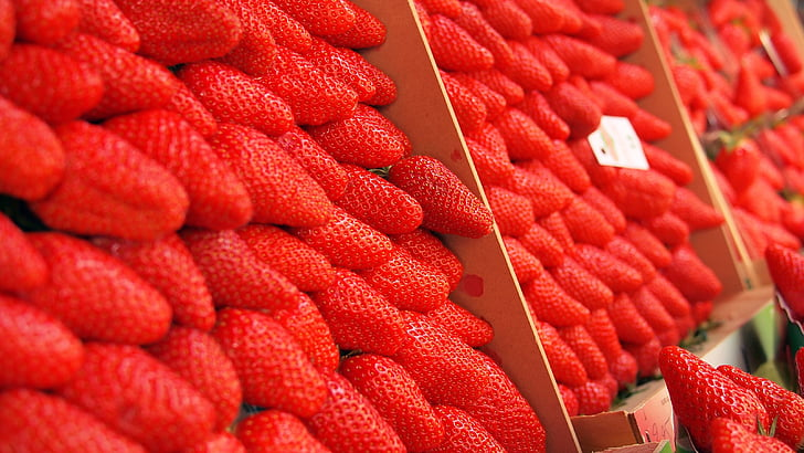 maduixes, mercat, mercat obert, baies, baies, maduixa, vermell