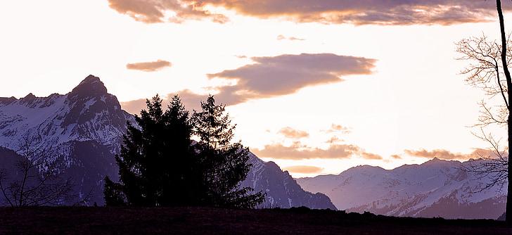 paisagem, montanhas, paisagem montanhosa, nascer do sol do Outlook, luz, montanha, natureza