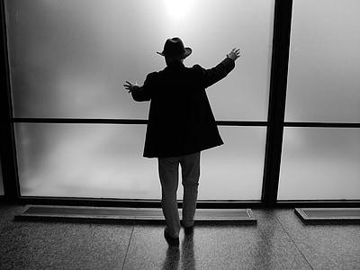 silueta, figura masculina, figura, persones, homes, ombra