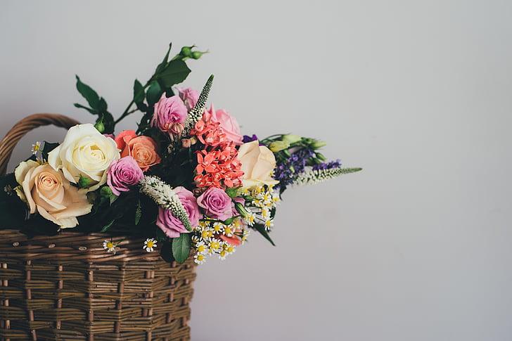 krepšys, žydėti, žiedų, puokštė, apdaila, floros, gėlės