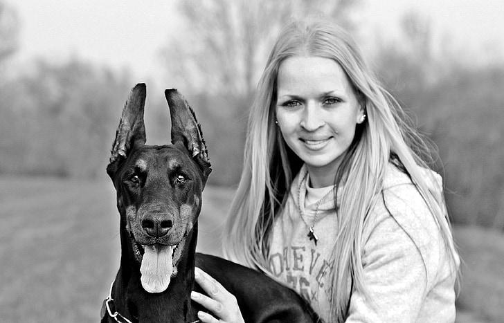 i, dog and woman, black and white, doberman, dog, animal, species