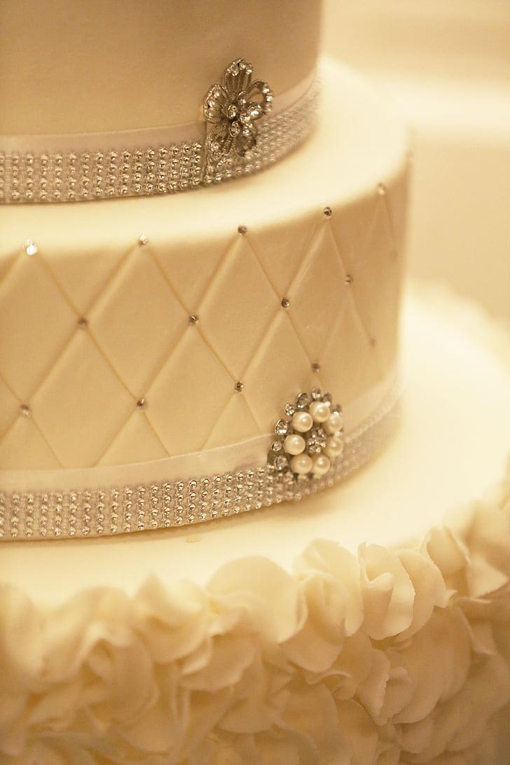 торт, прикраса, Wedding-Cake, білий, фантазії, ювелірні вироби, весілля