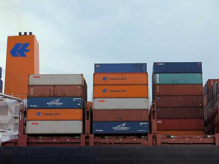 集装箱, 端口, 汉堡, 集装箱船, 货物贸易, 运输, 集装箱装卸
