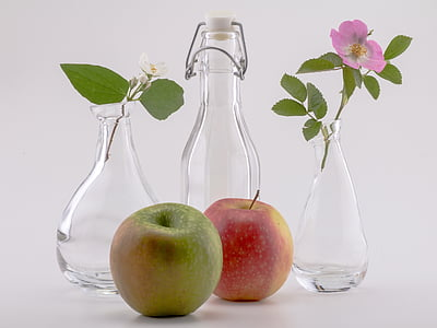 bodegons, ampolles, flors, déco, Poma, fruita
