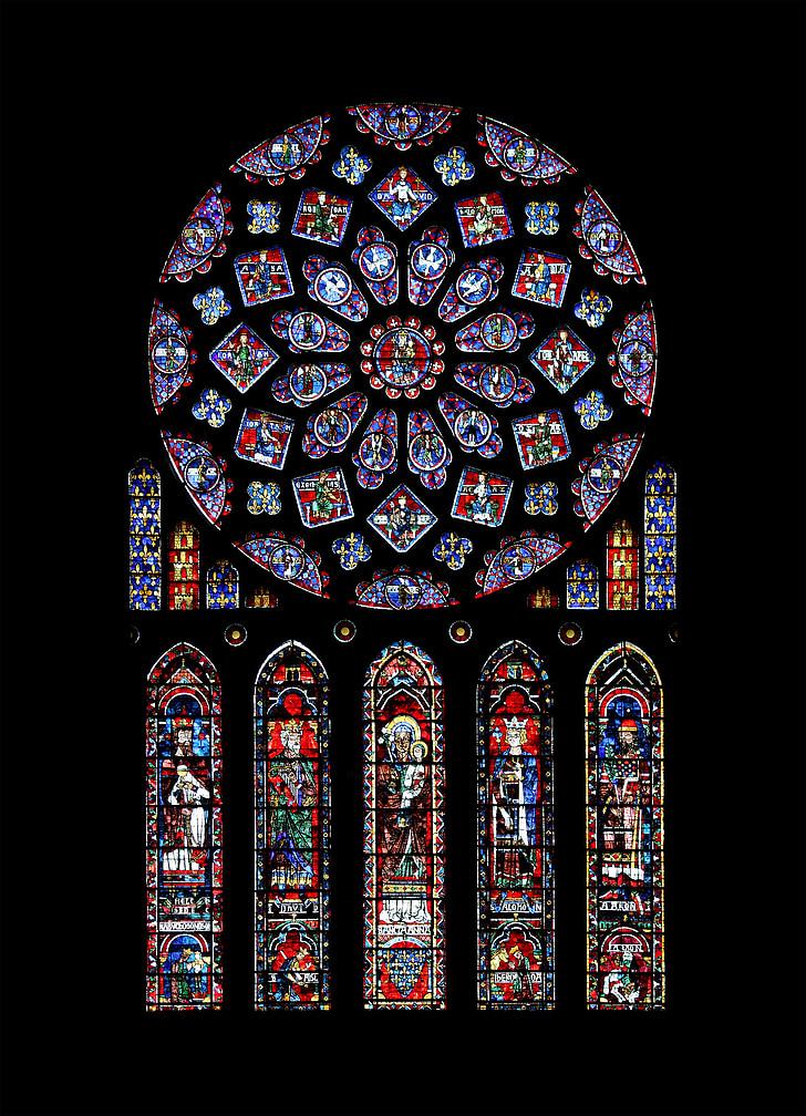 Chartres, Catòlica, roseta, Catedral, Notre dame de chartres, Lancet finestra, finestra de vidre