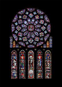 沙特尔, 天主教, 莲座丛, 大教堂, 圣母院 de 沙特尔, 柳叶刀窗口, 玻璃窗口