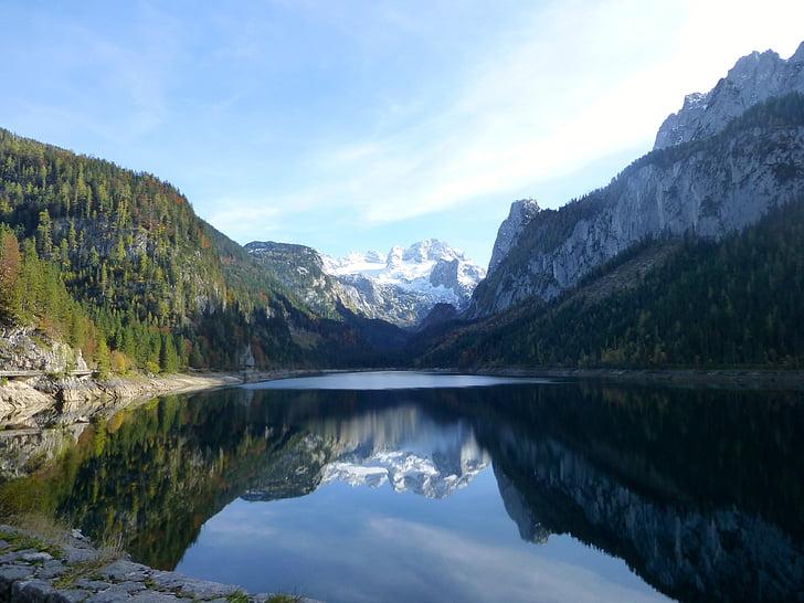 mirroring, lake, mountain