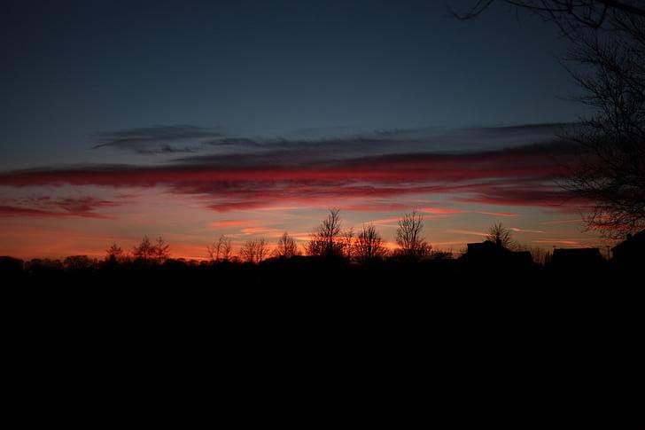 posta de sol, crepuscle, nit, el sol, natura, cel, el fons