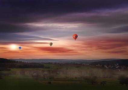 небе, горещ въздух балон, плувка, цветни, светъл, настроение, средата на въздуха