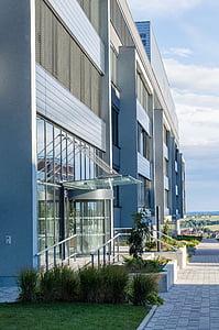 hoone, kaasaegne, arhitektuur, klaas, peegeldus, büroohoone, kaasaegne hoone