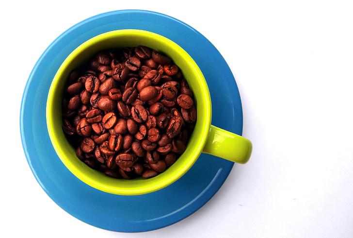 cafè, grans de cafè, tassa de cafè, porcellana, colors