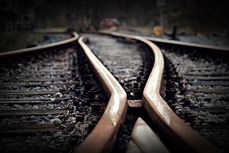 track, soft, seemed, rail traffic, railway station, train, junction