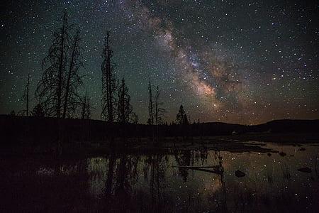 Llac FireHole, Parc Nacional de Yellowstone, nit, fosc, estrelles, estrellat, l'astronomia