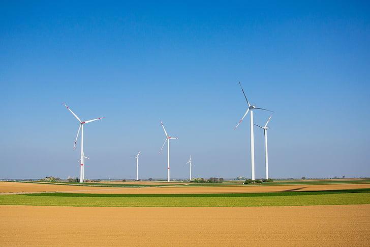 windräder, énergie éolienne, énergie, bleu, technologie environnementale, rotor, cours