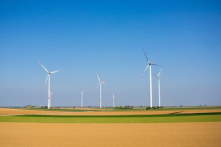 windräder, energia eòlica, energia, blau, Tecnologia Ambiental, rotor, actual