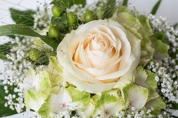 ramo de la, cumpleaños, color de rosa, ramo de cumpleaños, Blanco, boda, flores