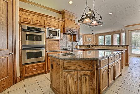 virtuvė, prabanga, kambarys, interjero dizainas, vidaus virtuvė, vidaus kambario, namų interjeras