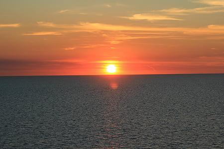 kryssningsfartyg, Ocean, kul, solnedgång, kryssning, fartyg, resor