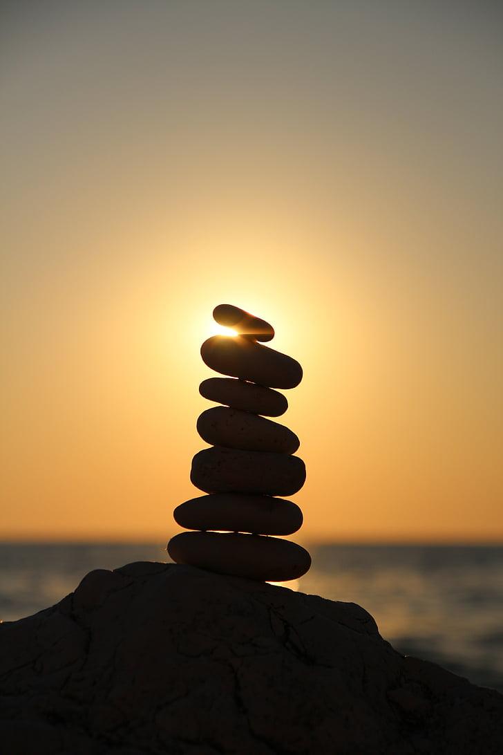 balance, stones, stone tower, tower, layered, beach, relaxation