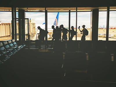 aircraft, airplane, airport, Airport gate, aviation, people, silhouette