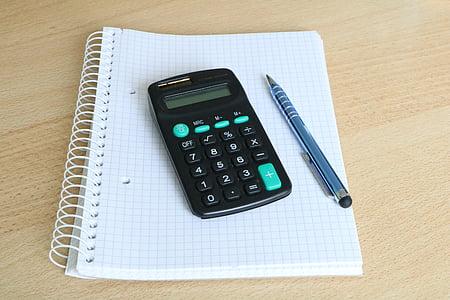 Калкулатор, блок, перо, Слънчев калкулатор, бяло, Бизнес, офис