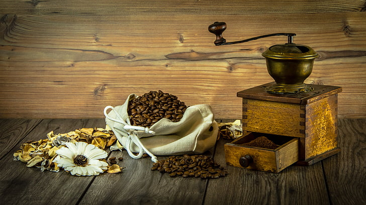 кафе, мелница, зърно кафе, все още живот, зърно, кафяв, цветя