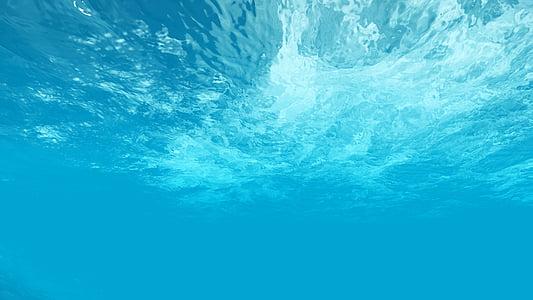 mořská voda, modrá voda, pod mořem, vodoznak, modrá, HD, velký obrázek