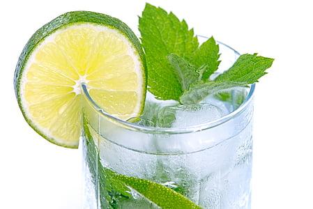 külma jooki, lubja, jook, kokteil, valge, klaas, isoleeritud