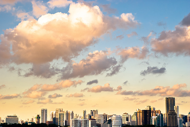 cityscape, skyscrapers, city, cloud, afternoon, cloudy