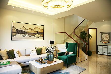 Immobiliària, sala de mostres, Hainan, Habitació interior, sofà, mobles, luxe