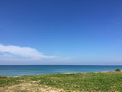 plaža nebo, bel oblak, jasno nebo