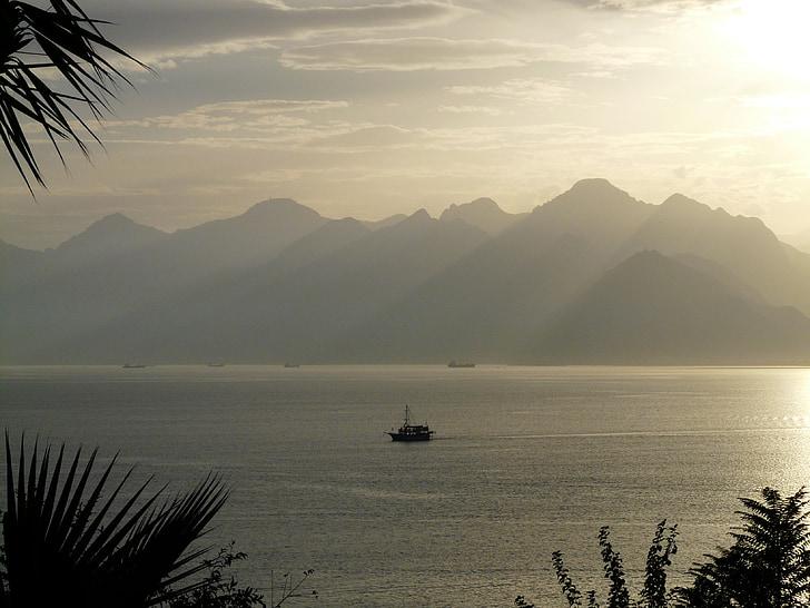 Antalya, mar, perspectivas, palmeiras, idílio, férias, oceano