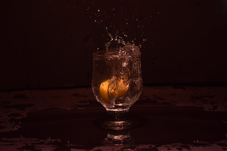 Splash, glass, sitron, vann, frisk, refleksjon, vann splash