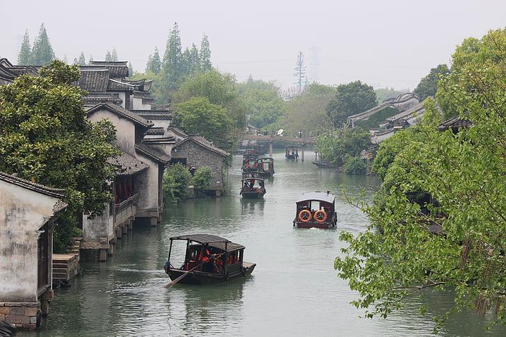 cases xineses, fluvial xinès, edificis xinès, vida xinesa, arbre, riu, Pont - l'home fet estructura